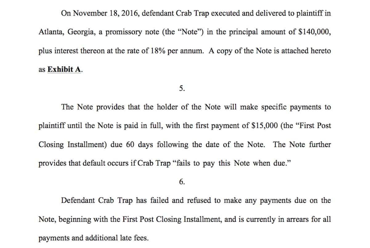 benzino crab trap sued