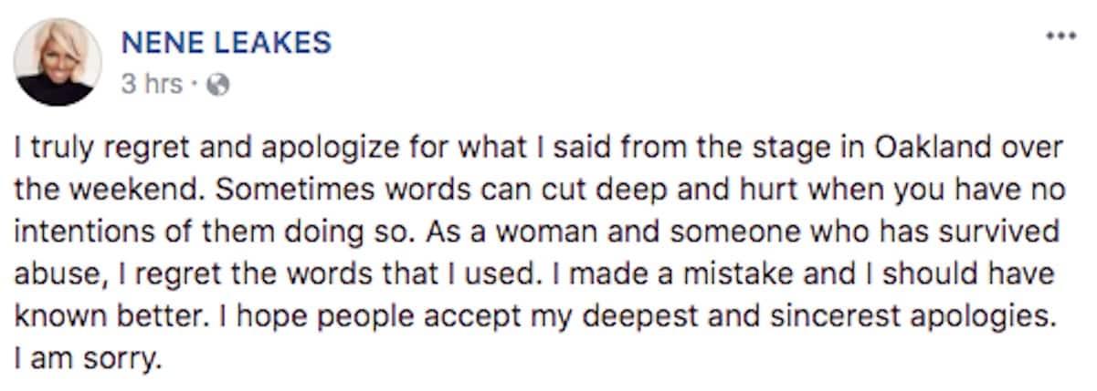 nene leakes rape apology