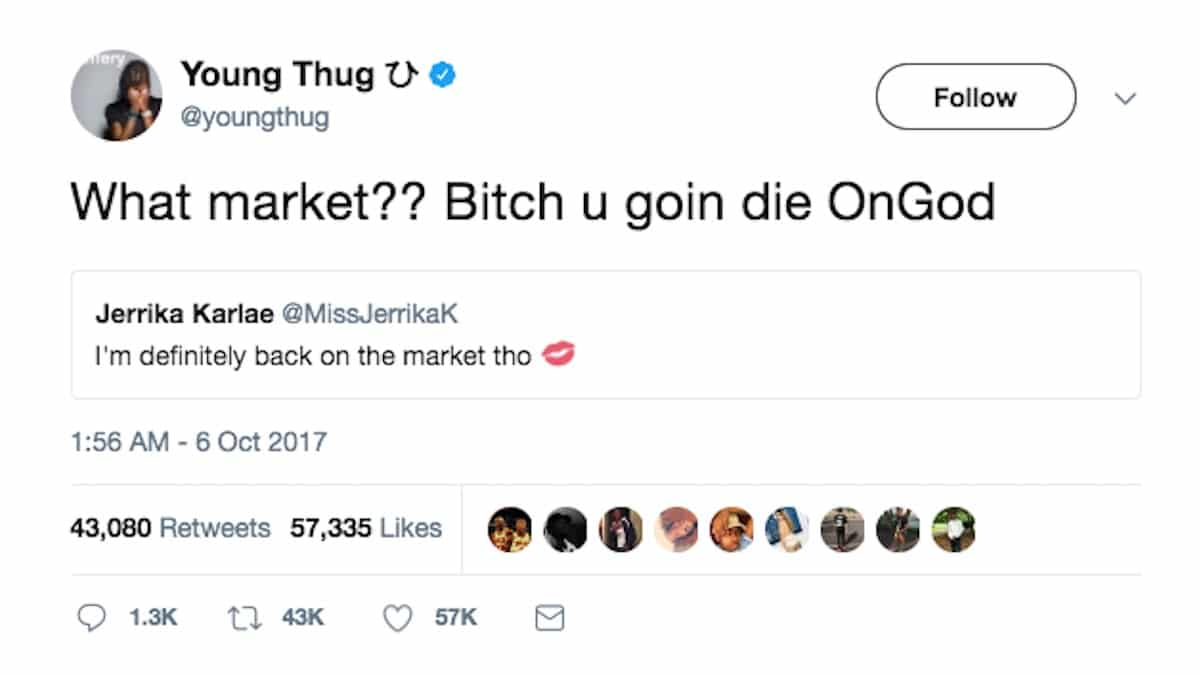 young thug death threat fiancee