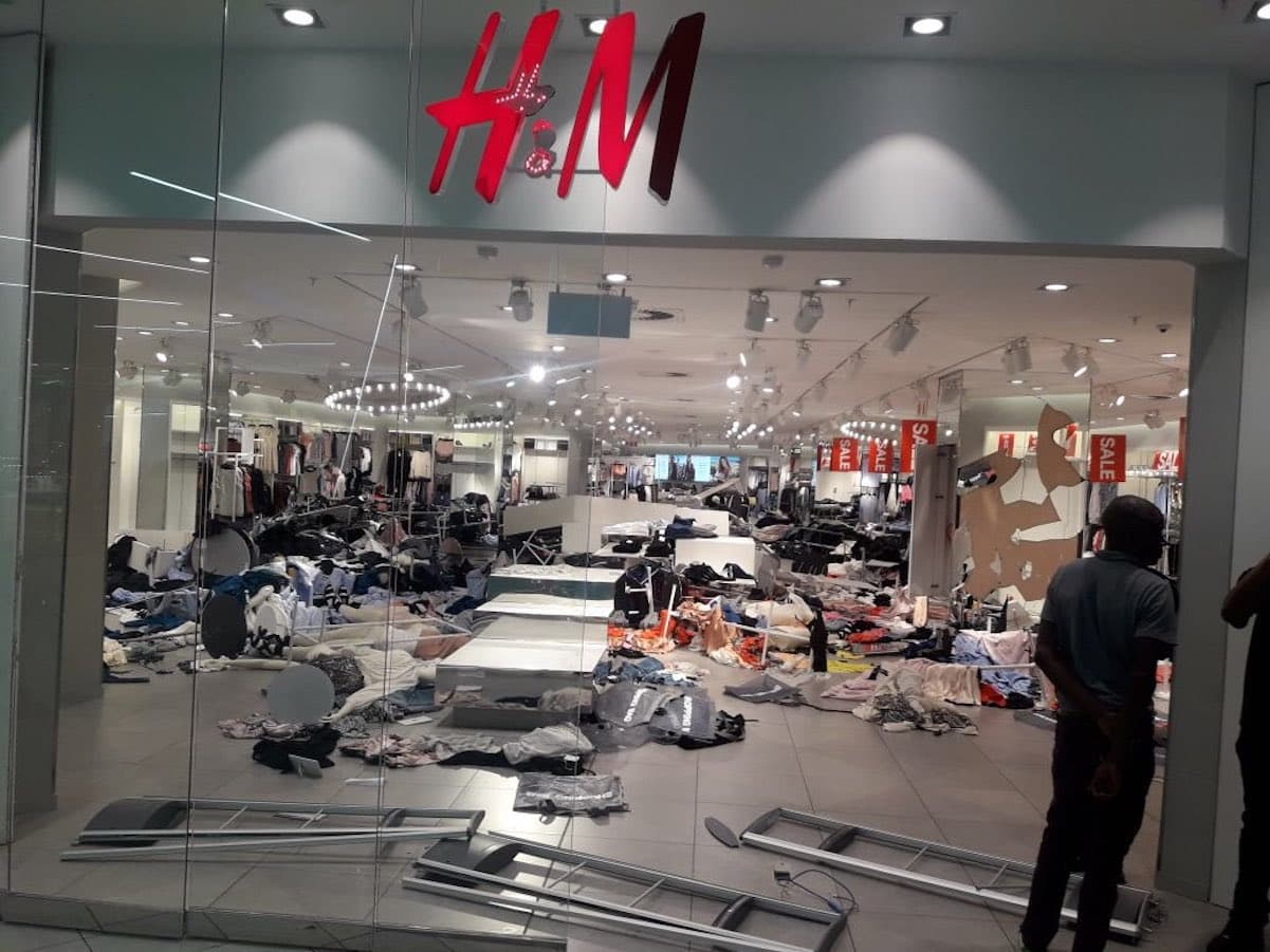 hm south africa store destroyed
