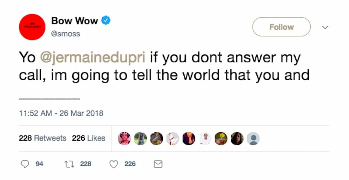 bow wow threatens jermaine dupri