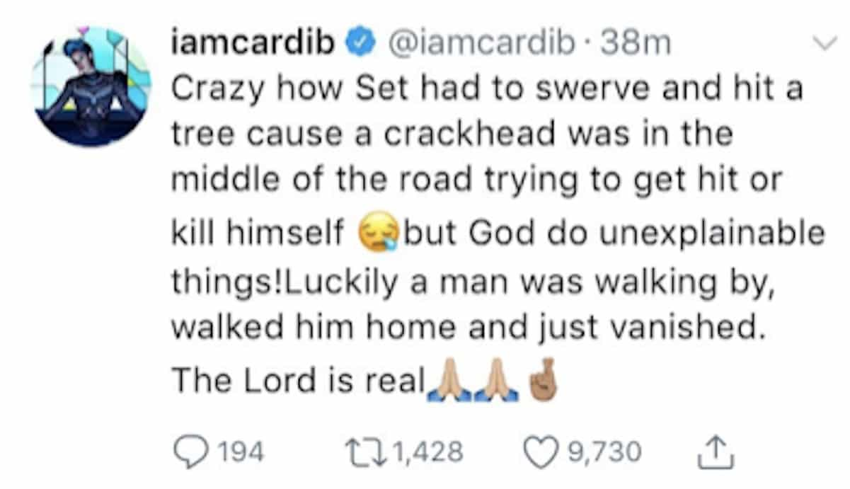 cardi b offset crackhead car accident