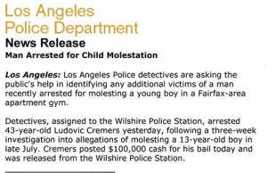 LAPD Andrew Payan Molestation Investigation