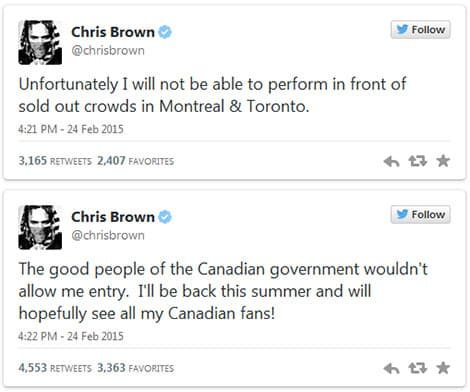 Chris Brown Denied Entry