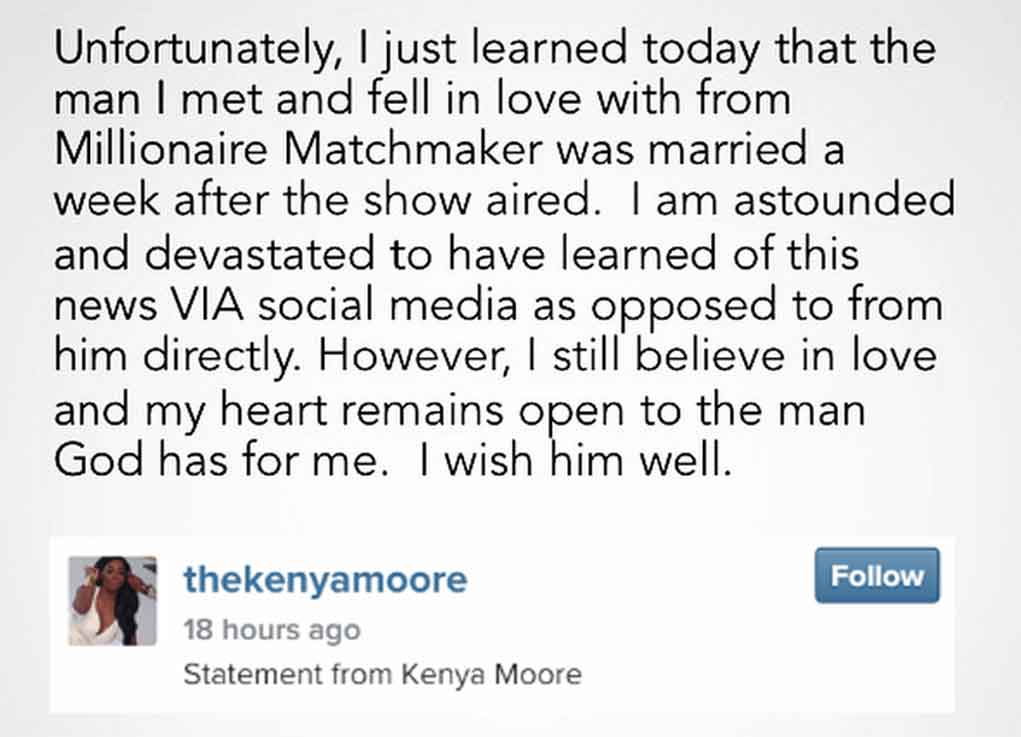 is kenya still dating the man from millionaire matchmaker