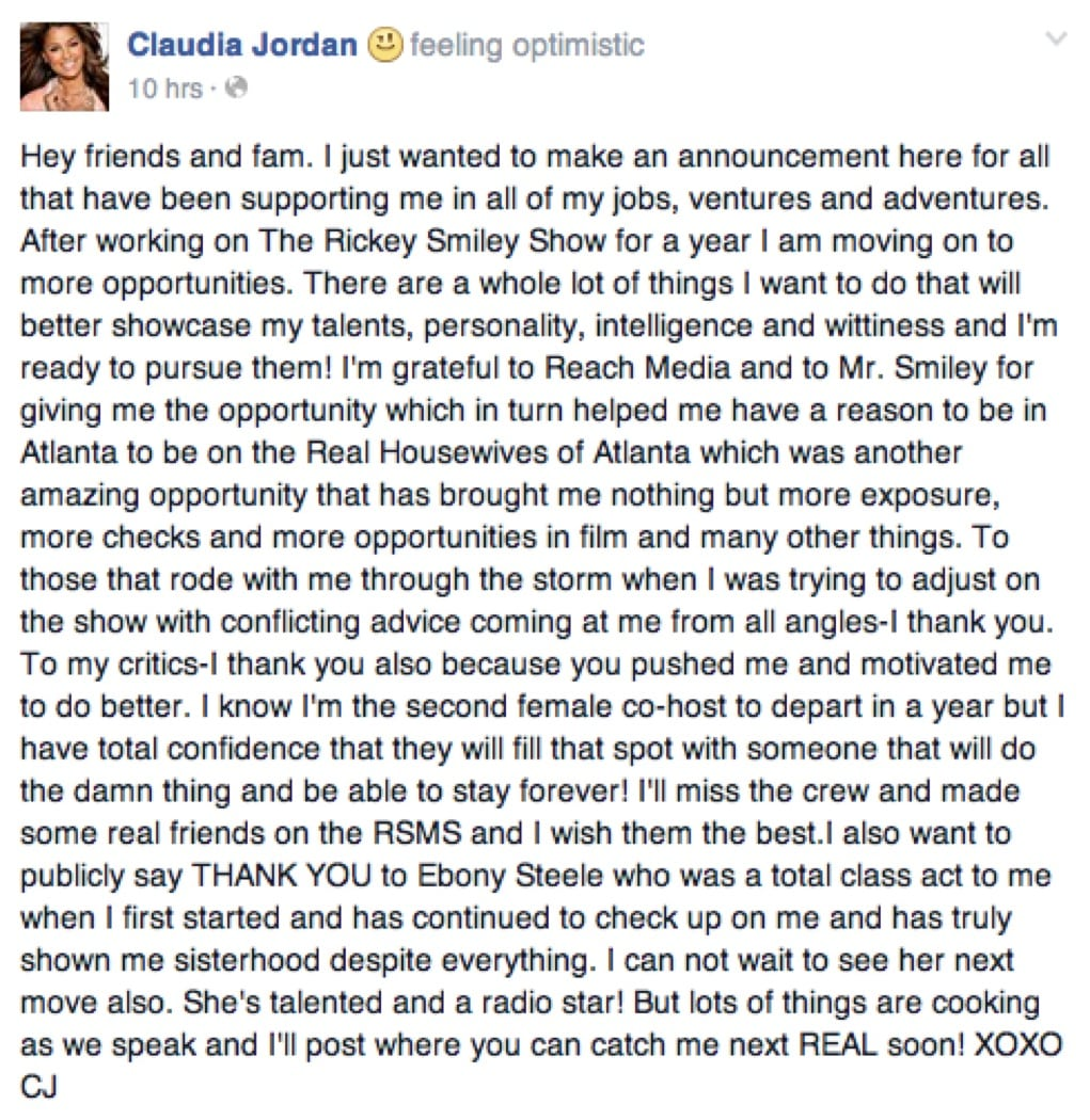 Claudia Jordan Fired from Rickey Smiley Morning Show