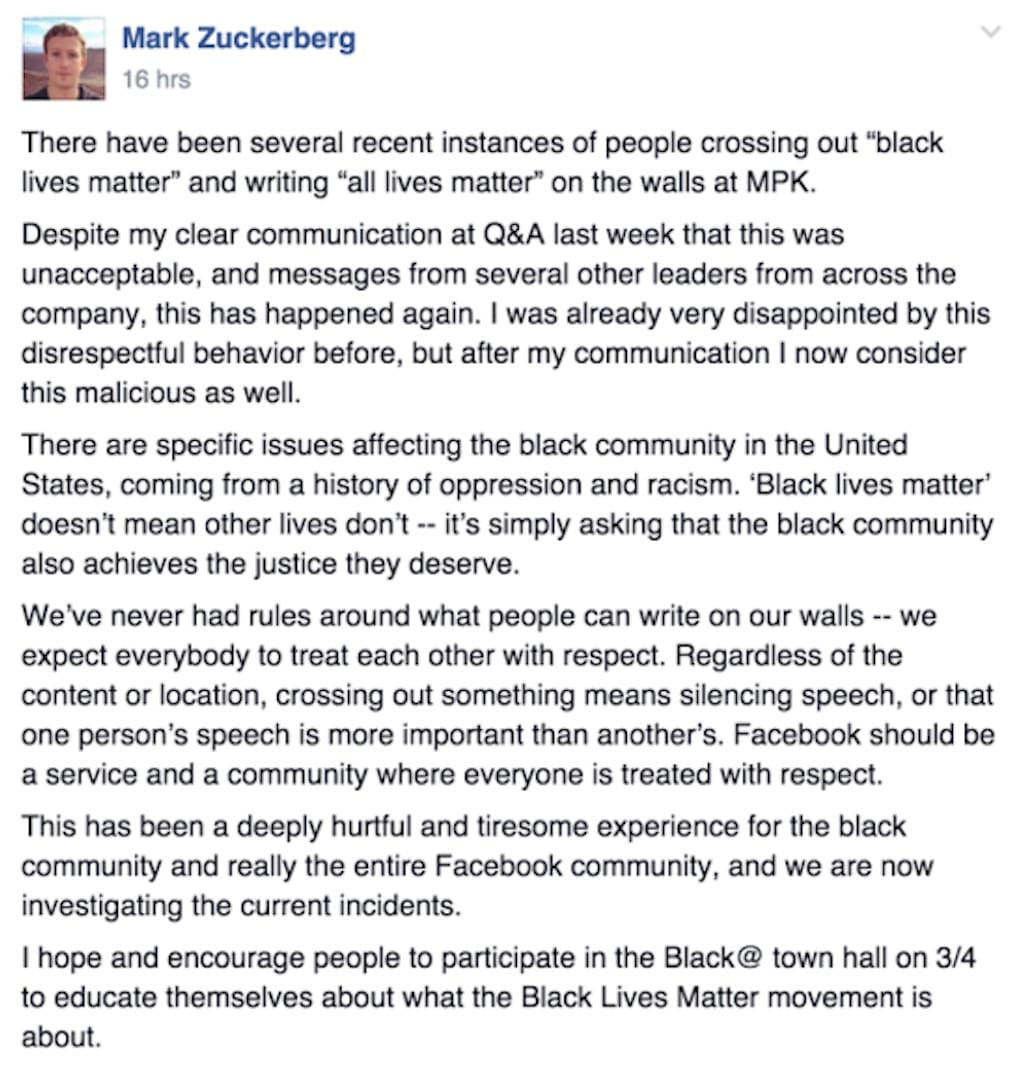 mark zuckerberg black lives matter