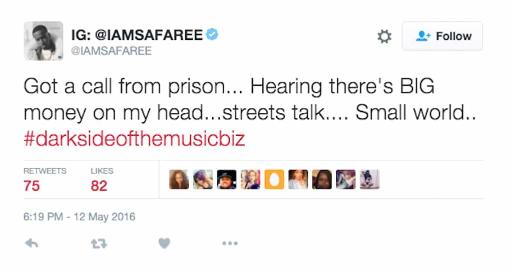 safaree death threats meek mill
