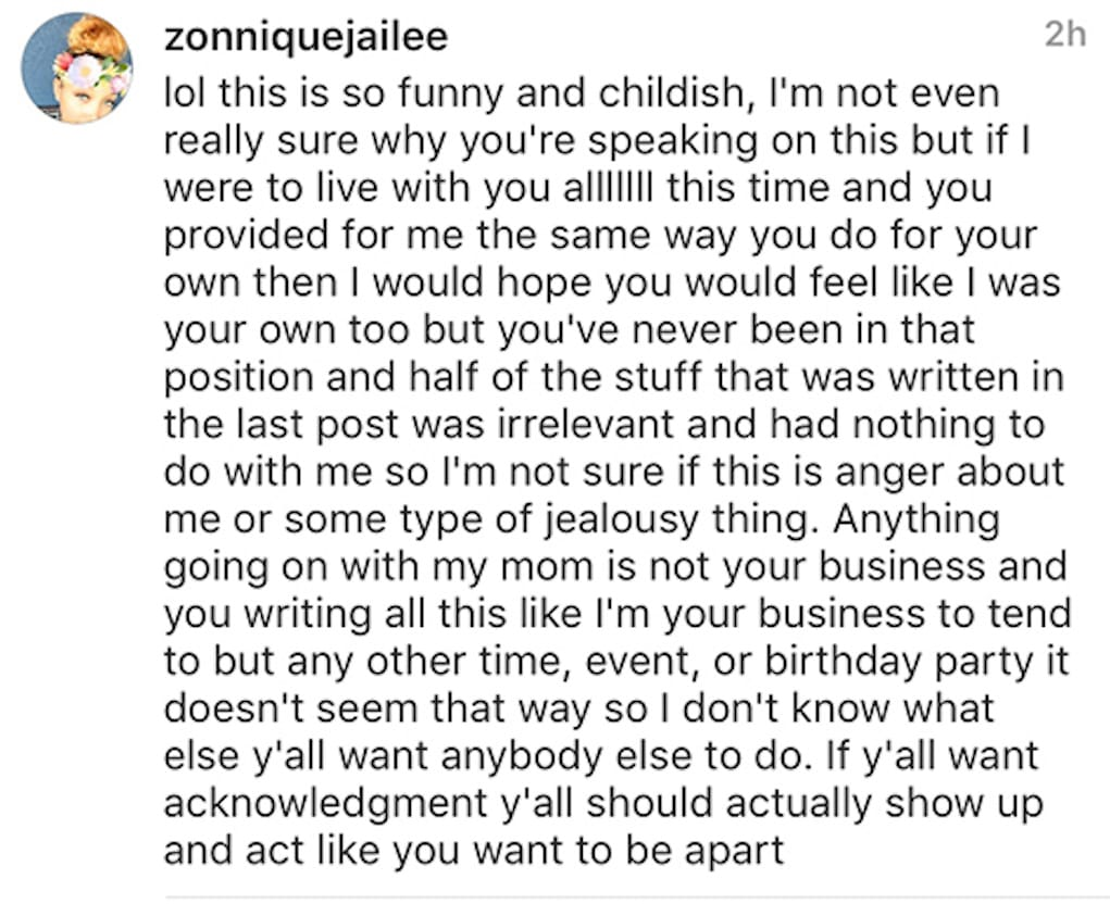 ti zonnique daughter disowned