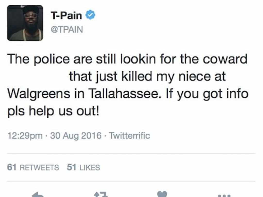 t-pain niece murdered tweet