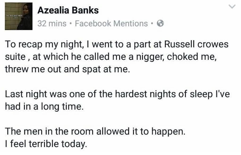 azealia banks russell crowe fighting