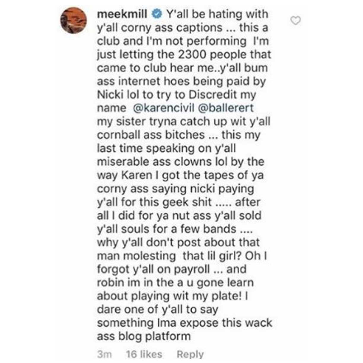 Meek Mill vs Karen Civil Baller Alert