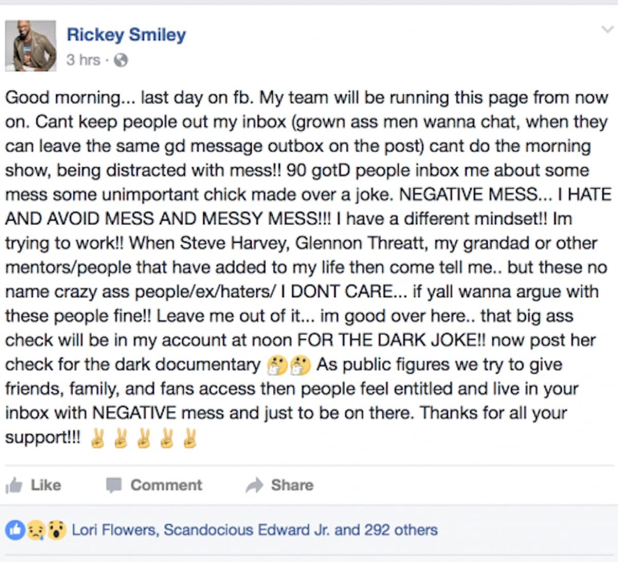 rickey smiley quits facebook dark skin