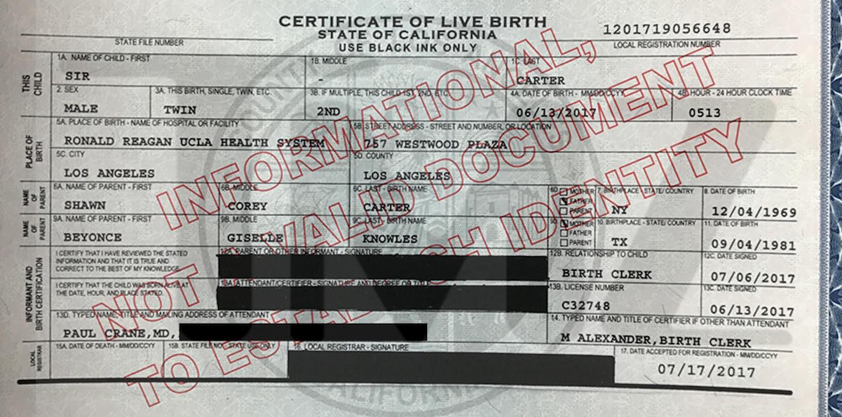 Beyonce\'s Twins Birth Certificates Leaked