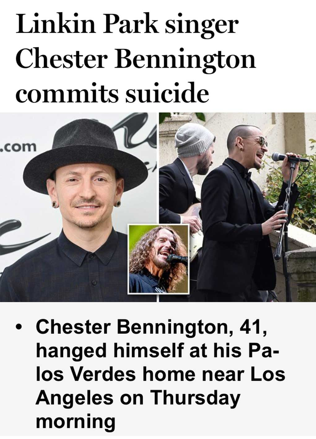 Linkin Park Lead Singer Dead By Hanging In Los Angeles Home