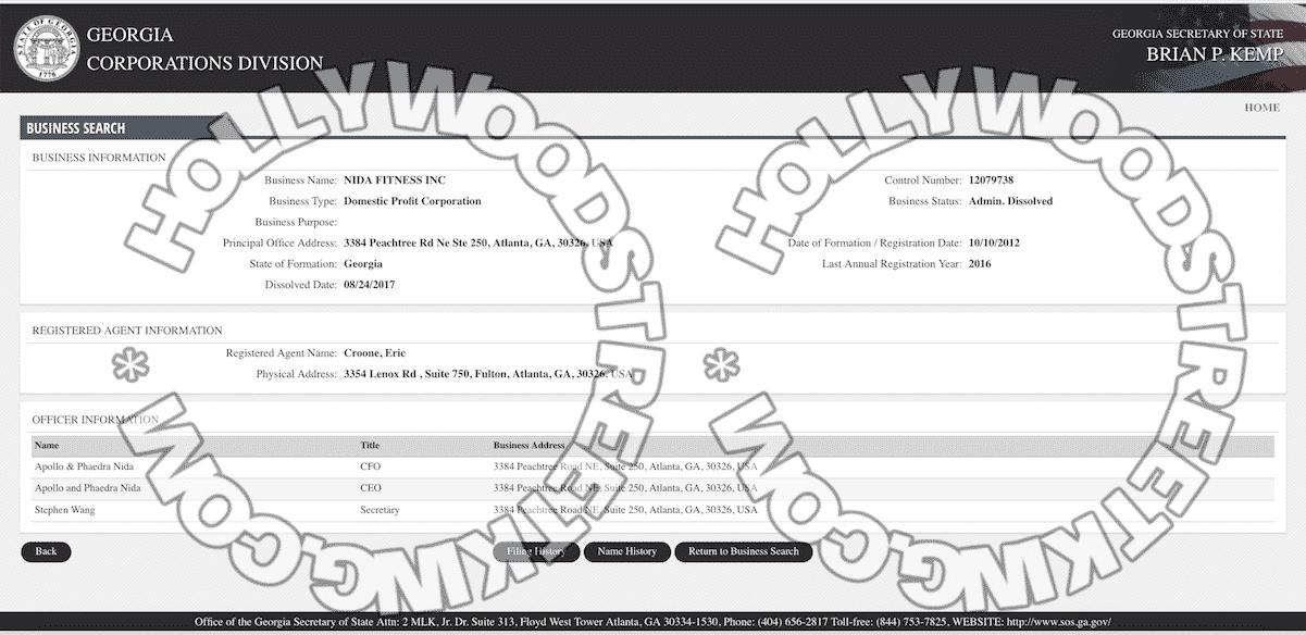 NidaFitness-GA-Corp-Division-Record