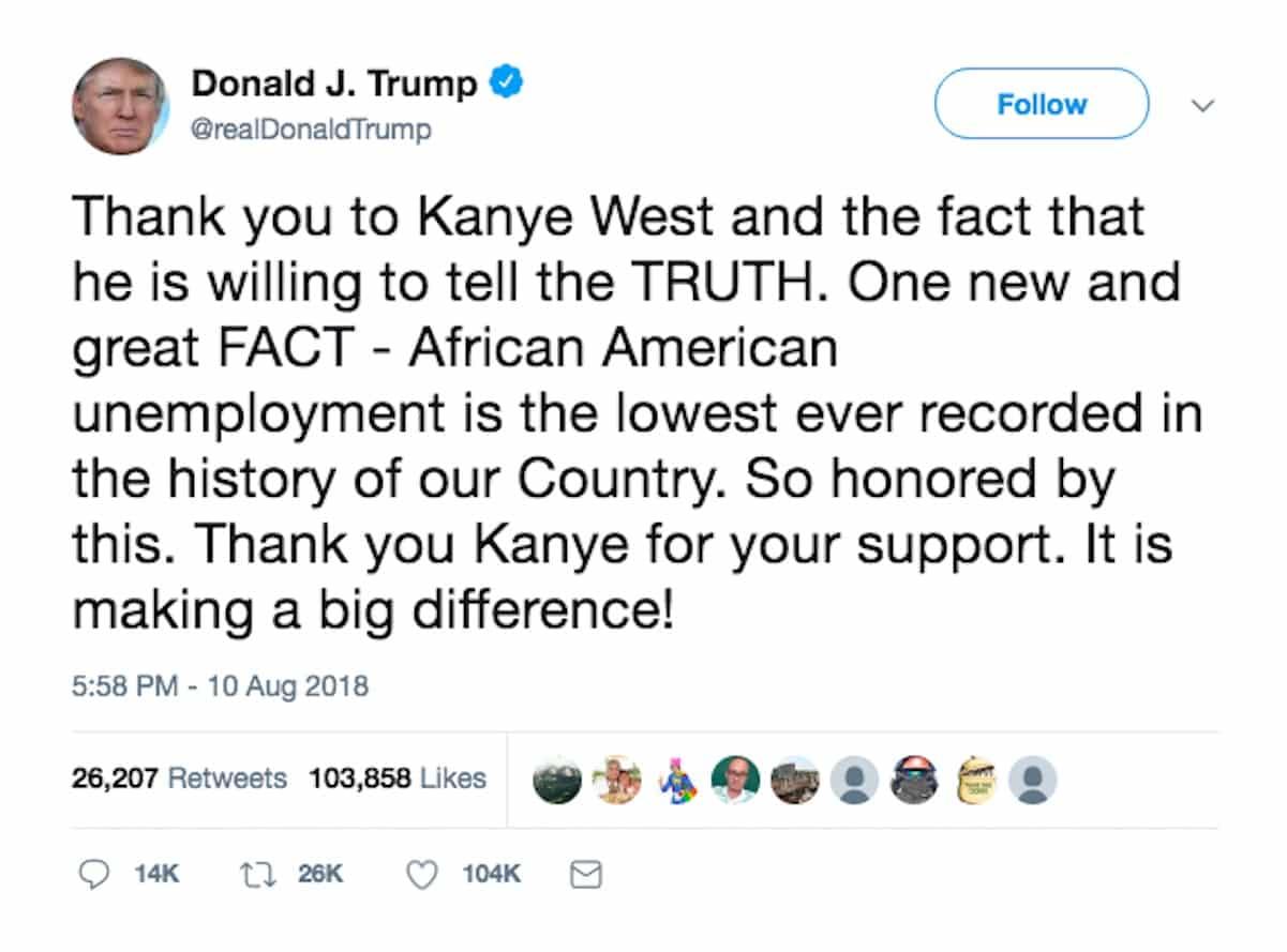 trump tweest kanye west